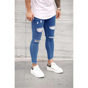 Hommes Hip Hop Jeans trou Fashion Tendance stretch Casual Tight Washed Jeans Designer Pantalons Skinny Denim Homme Automne Zipper