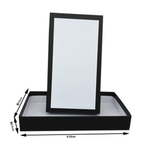 Scatole di imballaggio regalo del marchio per portafoglio rettangolo nero carta carta bianca Imballaggio al dettaglio per accessori per gioielli di moda taglia 23 * 12 * 3.5 cm