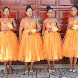 2021 Bridesmaid Dresses Lace A Line Tea-Length Wedding Party Dress Tulle African bridesmaid Dress