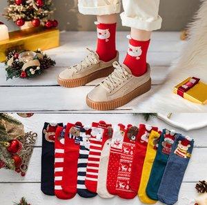 Warm Women Socks Winter Cotton Christmas Socks Cartoon Santa Claus Elk And Cute Striped Bear Socks
