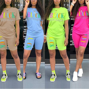 Women Casual Outfit Clothes 2020 Summer Letter Print Short Sleeve T-shirt +Knee Length Shorts 2Pcs Set Sporting Tracksuit Outfit1