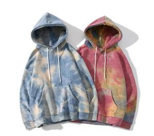 Unisex Tie-Dye Fleece Pullover Winter Damen Herren Pullover Gradient Kapuzentops Buchstaben drucken Causal Sport Sweatshirts Mode Kleidung LY1106