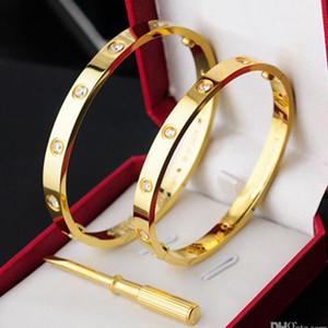Moda Prata Senhoras Rosa Gold Lady Parafuso Homens Chave De Fenda Diamond Designer de Luxo Jóias Mulheres Mens Braceletes Bangle Box Precisa de Extra