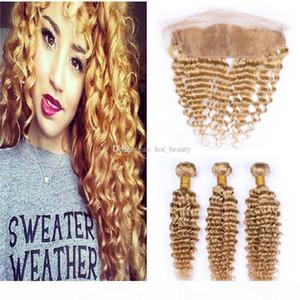 8A Honig blonde Spitze Frontalverschluss mit Bündeln Deep Wave # 27 Blondine unverarbeitete brasilianische jungfräuliche Haare 3 Bündel und Spitze Frontal Verschluss
