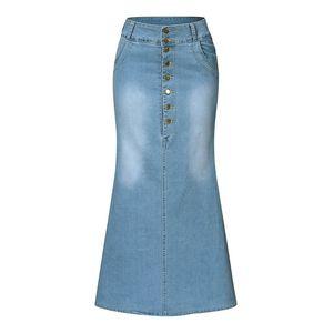 Jaycosin Mulheres Turmput Demin Saias Moda Casual Botão Sólido Lavado Denim Ankle-Comprimento Saias Outono senhoras Long Jean Skirt 201109