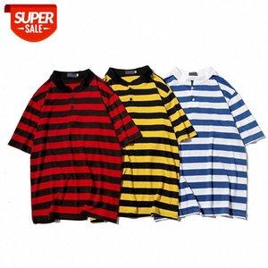 Men's Short Sleeve Men's Shirt Striped Matching Color Shirt Striped T-shirt #b98G