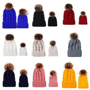 9Colors Beanie Winter Warm Parent-child Crochet Hats Children Adults Knitted Caps Outdoor Fashion Skull Cap with big Pom Pom hat E101905