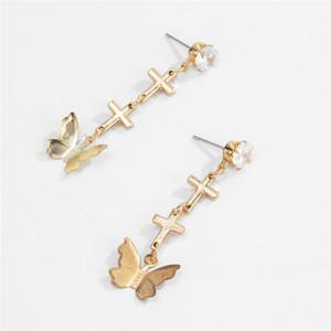 15Pairs Lot Fashion Rhinestone Cross Stud Earrings European Butterfly Dangle Ear Drop Women Gold Alloy Hanging Earring Jewelry Accessories