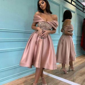 Rose Pink Cocktail Dresses A Line Off the Shoulder Beaded Sequins Cheap Prom Dress Custom Made Homecoming Gowns Knee Length Evening Wear