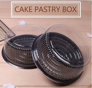"""50set 6 """"8"""" round plastic cake box cheese transparent cheese pastry box mousse box free shipping"""