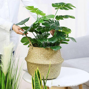 Gardening Laundry Basket Seaweed Weave Flowerpot Home Furnishing Decoration Big Belly Plant Pots Europe And America New Arrival 15ay F2