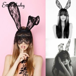 Sexy Masquerade Women Halloween Costume Party Rabbit Bunny Ears Lace Eye Mask Black