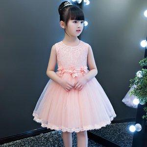 Fashion Beading White Pink Flower Girl Dresses Halloween Ball Gown Kids Flowers Flowers Holy Communion Dresses Vestidos for Girl