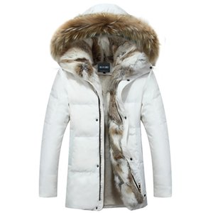 Drop shipping Men's and Women's Leisure Down Jacket Winter Thick Hood Detached Warm Waterproof Big Raccoon Fur Collar ABZ58 LY191225