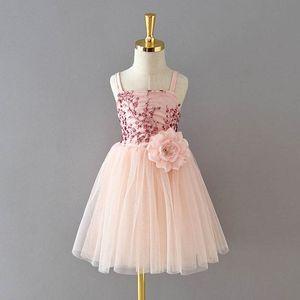Summer large flower girls dress sequin princess girls dresses Tutu suspender dress kids dresses girls clothes kids clothing B3511