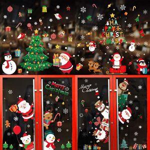 Merry Christmas Stickers Christmas Decorations Santa Claus Deer Xmas Tree Wall Window Stickers Ornaments Navidad New Year Decor