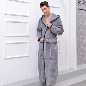 Men&women Kimono Hooded Bathing Robe Thicken Homewear Housecoat Dressing Clothes Towel
