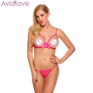 Avidlove Sexy Set T-Back Open Bra Sex Shop Sex Strap Lingerie Lingerie regolabile Scava Scava Underwear1
