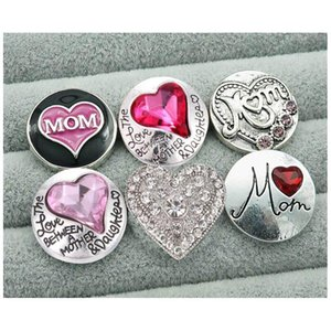 New 10pcs Mixed Beauty Charming Rhinestone Lovely Mom Heart 18mm Charm Snap Buttons Fit Diy Ch sqcVvj beauty888