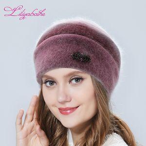 Liliyabaihe chapeau de femmes d'hiver Chapeau tricoté Angora ornements en laine à double chaud Hat 201012