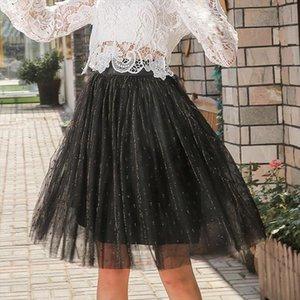 Süße Mesh Chiffon Ball angebaute Frauen Rock gefaltete Kawaii Empire Röcke Weibliche Beiläufige Knielange Niedliche Party Rock