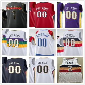 مخصص مطبوعة صهيون 1 Williamson Brandon 14 Ingram Lonzo 2 الكرة إريك 6 بليدسو نيو أورليانز البجع الرجال امرأة الاطفال الشباب كرة السلة الفانيلة