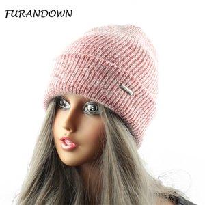 Furandown coniglio pelliccia di pelliccia a maglia cappello cappello inverno donna cappello da donna caldo berretto di lana caldo cappello all'aperto sport skullies berretti gorrox1023