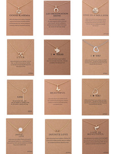 Elegant Women Animal Charm Pendant Necklaces Key Heart Pearl Circle Coin Cross Bowknot Choker Golden Chain Necklace with Card