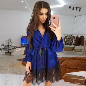 Women Sexy Bandage Lace Patchwork a Line Party Ladies Long Sleeve v Neck Elegant 2020 New Fashion Mini Dress Vintage Y200805 3671#