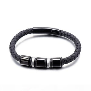 Fashion Twist Black Leather Weave Tainless Steel Men Cable Wire Bangle Bracelets Street Punk Trendy Blood Men Gold Bracelets