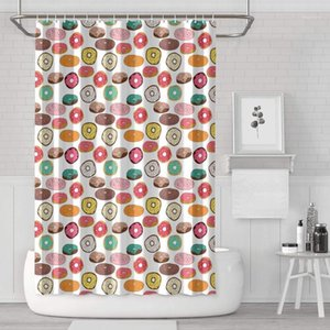 White Pink Donut Birthday Party Wedding Shower Curtain Bath Curtain Set Polyester Cloth Printed Pattern Soft Protective Space1