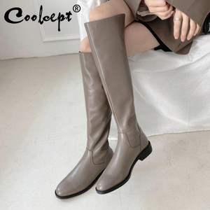 Coolcept Women Over Knee Boots Real Leather Flat Heel Women Winter Long Boots Fashion Party Shoes Footwear Size 34-40