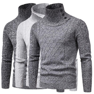Herren-Pullover mit Stehkragen Pullover Herbst-Winter-Casual Male Pullover Langarm Solid Color Pullover Pullover Tops Strick Male Sweater