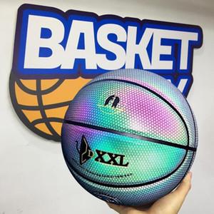 DXXL 3. Holographische Luminous Basketball Regenbogen 3M reflektiert das Licht schwarzen Basketball Ball importierter PU-Leder Innen Outdoor-Basketball Größe 7
