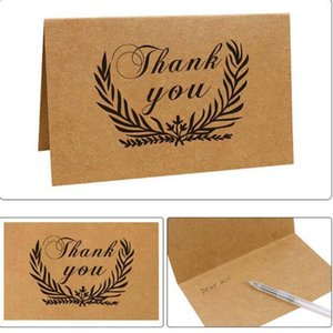 New Hot 1Pcs Coceca Kraft Paper Thank You Cards Thanks Card Blank Card and 1pcs Envelopes, 6 Patterns, for Festivals and Parties
