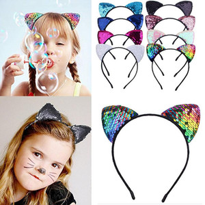 New Flip Sequin Cat Ear Headband Children Birthday Headband Hairband Girl Headwear Kids Christmas Party Supplies HH9-3423