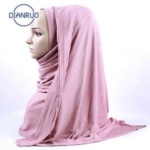 Linling Moda Mujeres gasa sólido musulmán bufanda señoras chales y envueltos suave hembra hijab estoles cabezal underscarves n4881