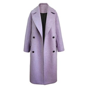 SONDR 2020 New Autumn Fashion Women's Woolen Coat Full Sleeve High Street Purple Lapel Collar Solid Loose Wild Elegant