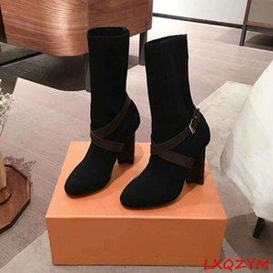 Elastic Knitted Strange High Heel Pumps Primavera Autumn Donne Ginocchio Stivali lunghi Nuovo design Large Plus Size