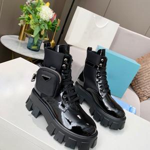 Donne Designers Rois stivaletti Martin Stivali nylon Boot ispirazione militare stivali da combattimento nylon bouch caviglia collegato con cinturino mini bag Box