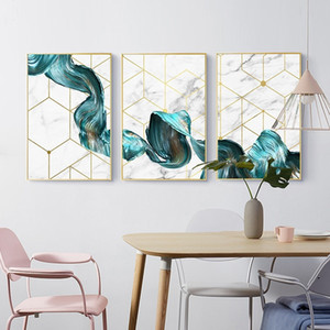 Nordic Geometric Wall Art Canvas Painting Abstract Blue Fabric Poster Prints Modern Wall Picture for Living Room Office Home Decor