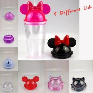 스트로 450ml 마우스 귀 머그잔 아크릴 플라스틱 물 병 귀여운 아이 컵 FWD2331 9 적합 뚜껑 15온스 지우기 마우스 귀 텀블러