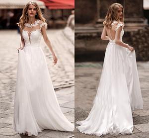 2021 Boho Lace Wedding Dresses A Line Cap Sleeves Sheer Jewel Neck Bridal Gowns Sweep Train Appliqued Country Beach Vestidos De Novia AL8261