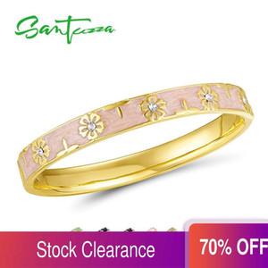 Cristales Pulsera Flor SANTUZZA brazalete de moda para la mujer multicolora de lujo de los brazaletes de joyería de moda espumosos MANO esmalte 0930