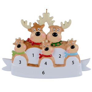 Reindeer Family Of 5 Resin Hanging Personalized Christmas ornaments As For Holiday or New Year Gifts or Home Decoration 1008