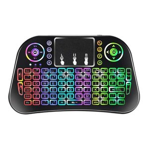 2020 New i8 upgrade 7 Color Backlit i10 Mini Wireless Keyboard 2.4G Air Mouse with Touchpad Remote Control for Android TV Box