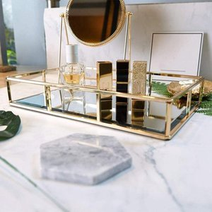 Духи Tray Свеча Tray Зеркало Таблица Gold Изысканная Золото Тщеславие Напитки Металл Зеркало