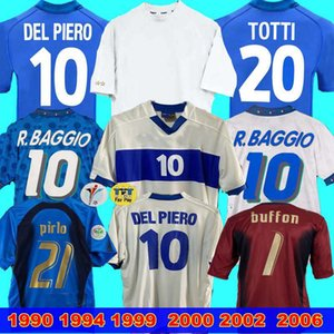 Italia Retro Jersey 2000 2002 2006 Portiere Baggio 1990 1999 Italia Retro Home 1994 Jersey di calcio Maldini Baggio Donadoni Totti del Piero