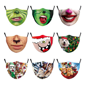 Christmas Face Masks Printed Xmas Kids Adult Face Masks Anti Dust fog Snowflake Mouth Cover Breathable Washable Reusable Party Masks