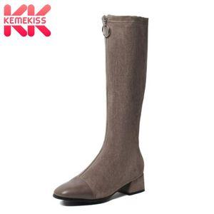 KemeKiss Größe 31-43 Frauen Lange Stiefel Zipper Patchwork Frauen kniehohe Stiefel Mode kühlen Winterschuhe Schuhe